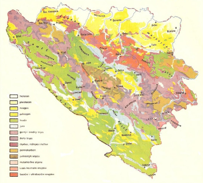 Karta Bosnien Och Hercegovina.Geological Structure Of Bosnia And Herzegovina